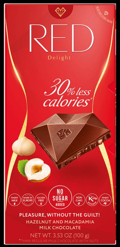 RED - MLIEČNA čokoláda S LIESKOVCAMI A MAKADÁMOVÝMI ORECHAMI - 100g